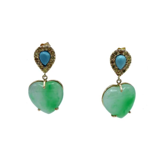 18kt Yellow Gold Jade Heart & Turquoise Earrings