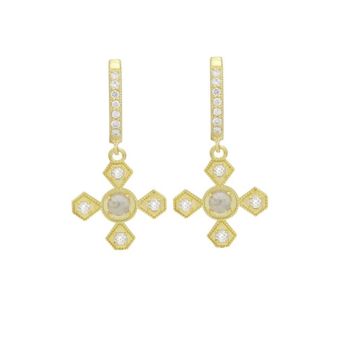 18kt Yellow Gold Rustic Rose-Cut Diamond Dangle Hoop Earrings