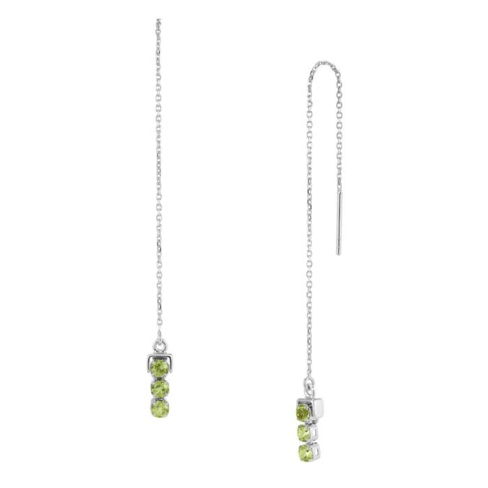 Sterling Silver San Shi Peridot Long Earrings