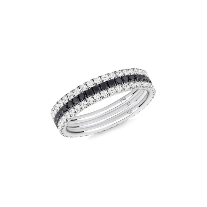Black And White 3-Ring Combination in White Gold