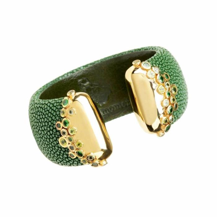 Sahar, Sapin Green Stingray Leather Bangle