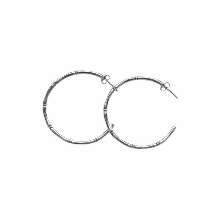Sterling Silver Bamboo Hoop Earrings