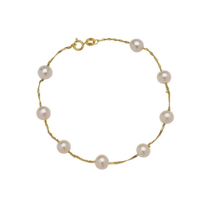 Tin Cup Pearl Bracelet Yellow Gold