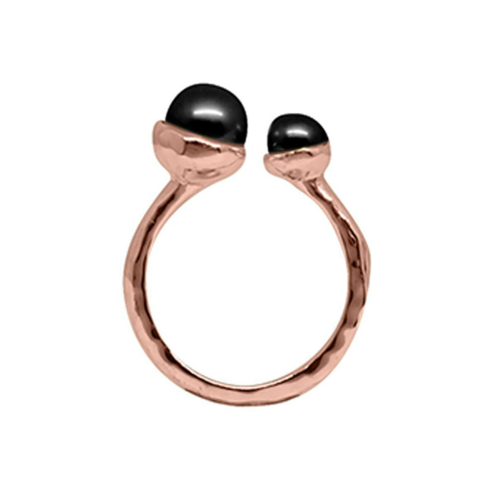 Rose Gold & Double Black Pearl Riveria Ring
