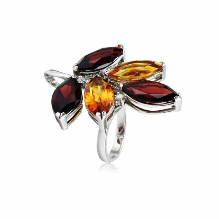 Tree of Life Garnet and Madeira Citrine Ring