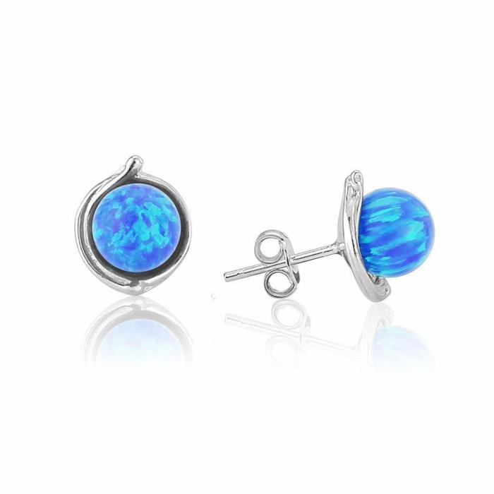 Sterling Silver Stud Earrings With Dark Blue Opals