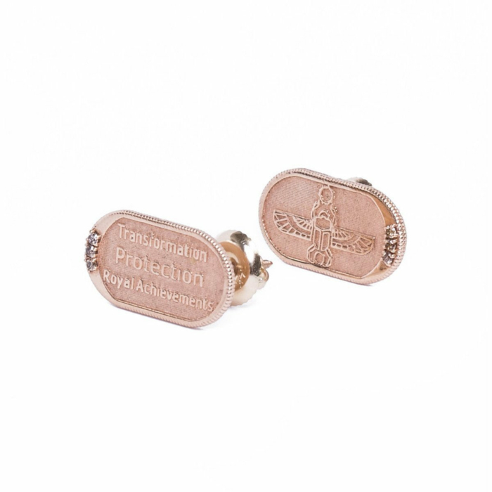 Scarab Rose Gold Earrings With Champagne Diamonds