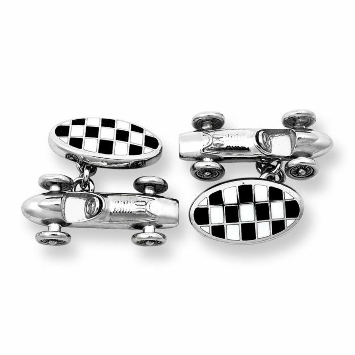Silver Car Racer Chain Link Cufflinks