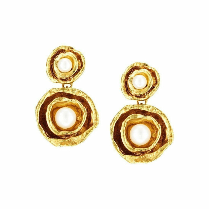 Gold Vermeil Double Cup Drop Pearl Earrings