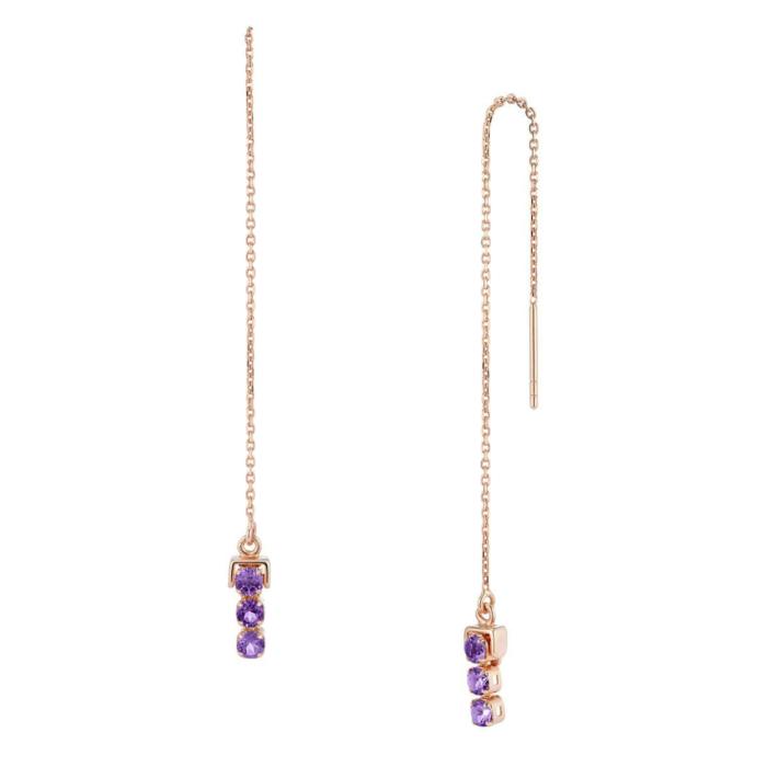 18kt Rose Gold Vermeil San Shi Amethyst Long Earrings