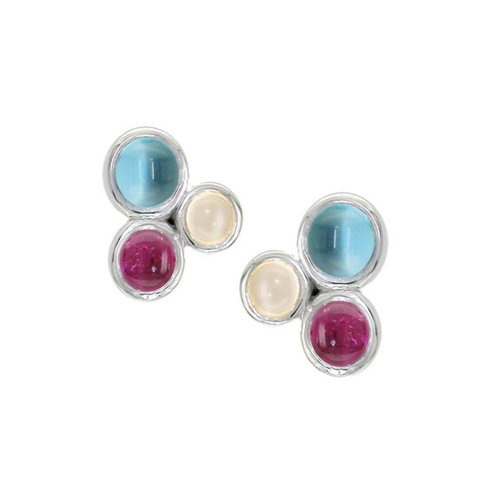 9kt White Gold Multi-Gem Earrings