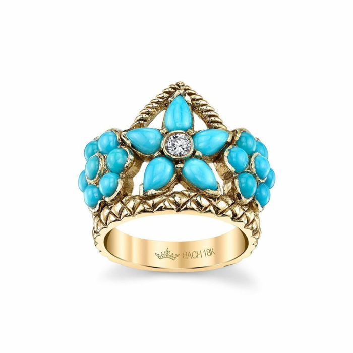 Flower Crown Ring With Turquoise And Diamond