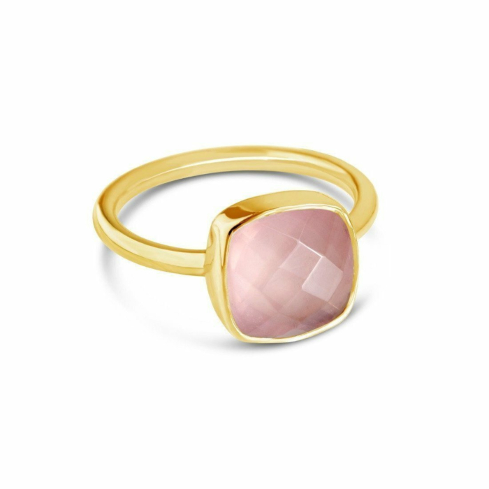 Rose Quartz Cocktail Ring in Yellow Gold