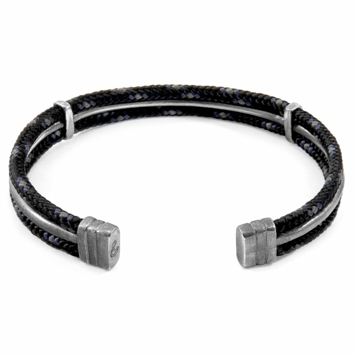 Black Aire Silver and Rope Bangle