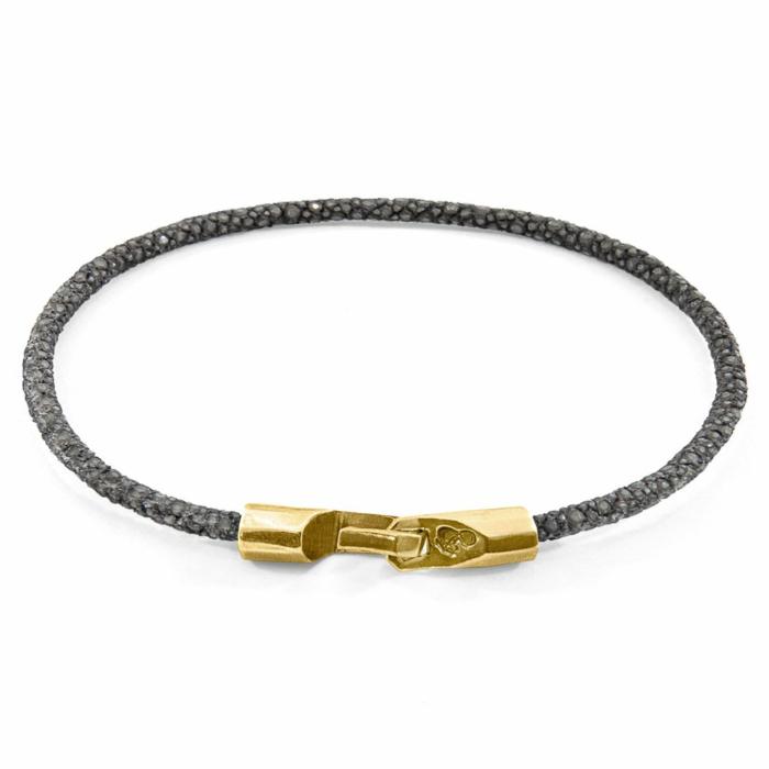 9kt Yellow Gold & Stingray Leather Shadow Grey Talbot Bracelet