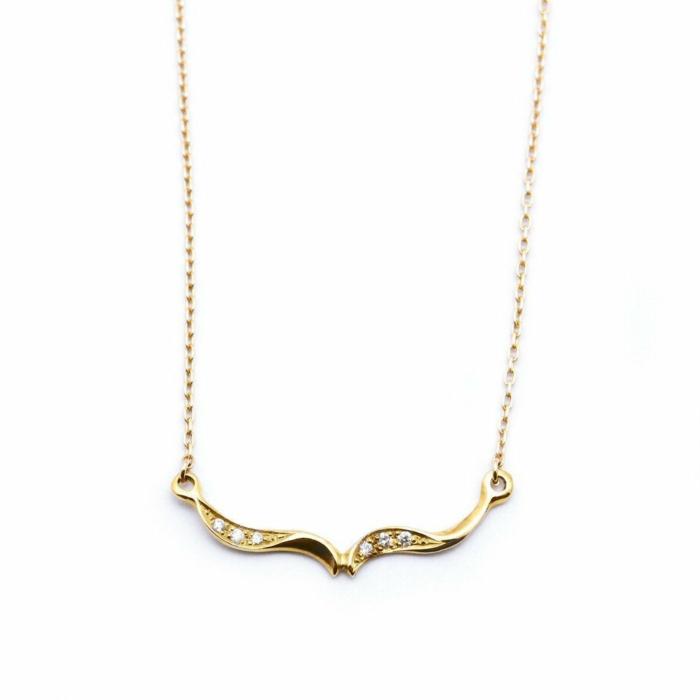 Gold & Diamond Arabesque Trail Wishbone Necklace | Ileava Jewelry