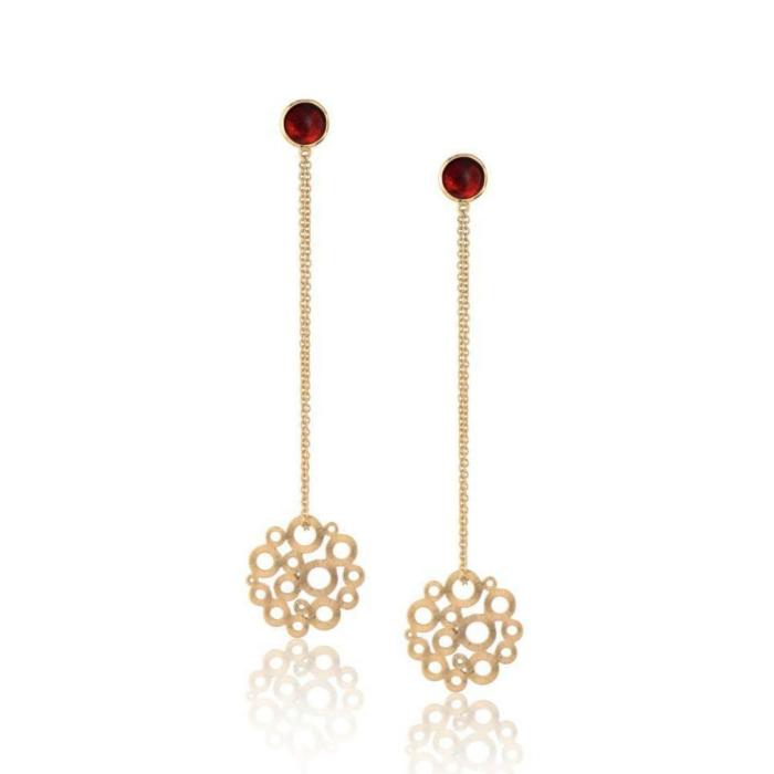 Garnet Honeycomb Earrings