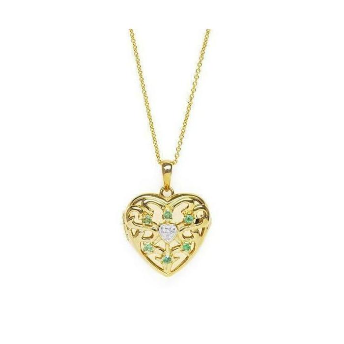 Gold Love Locket - Emerald