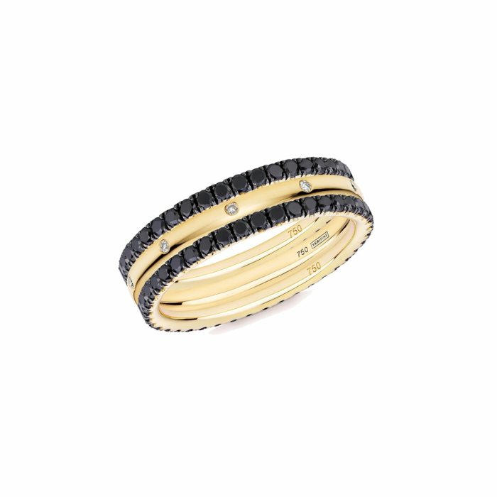 18kt Yellow Gold XV 3-Ring Eternity Stack With Black Diamond