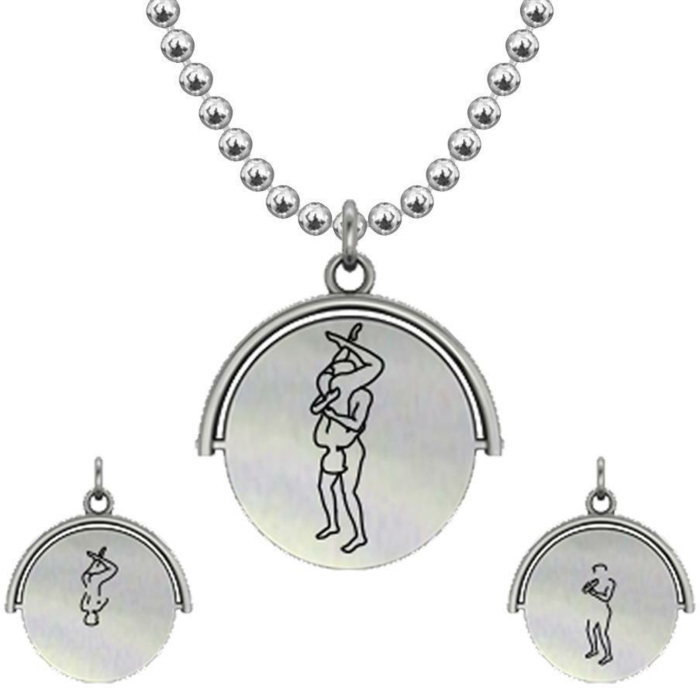 Allumersutra 30MM Silver Pendant Necklace - Boy And Boy - The 69