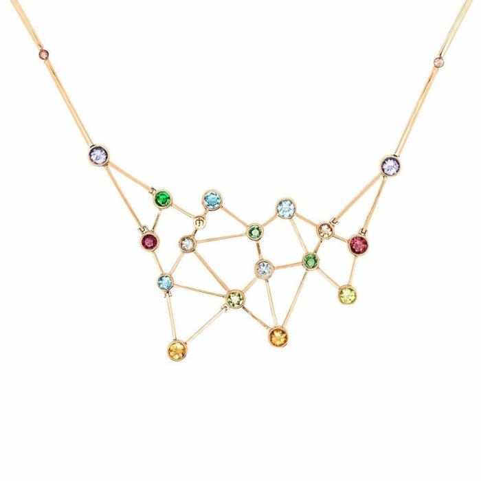 Rose Gold & Mutli-Gemstone Constelacin Necklace | Jaime Moreno