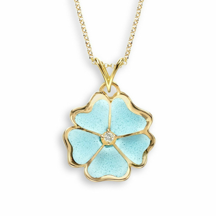 18kt Gold Flower Turquoise Necklace
