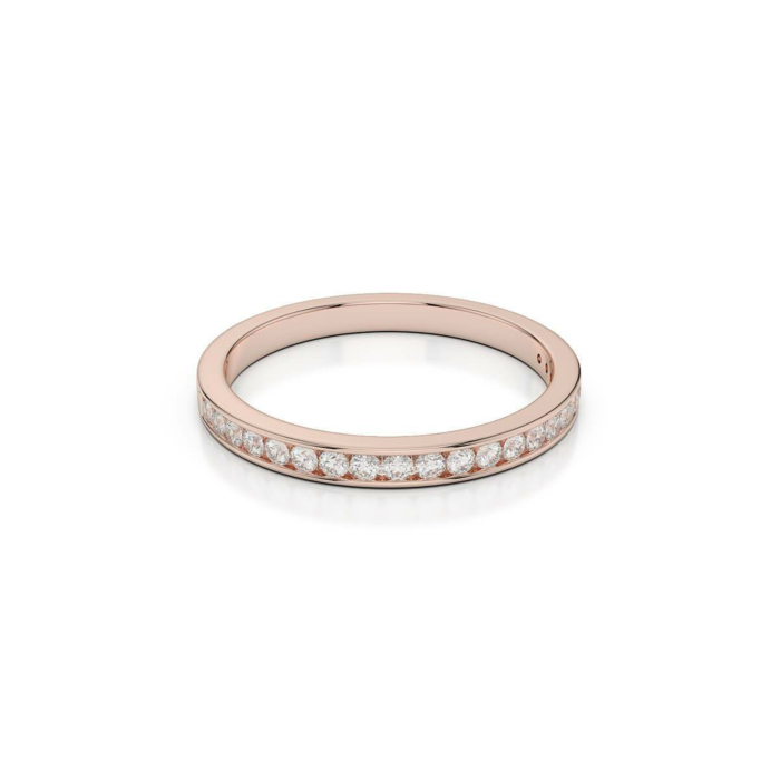 18kt Rose Gold Half Eternity Ring With Round-Cut, Channel-Set Diamonds