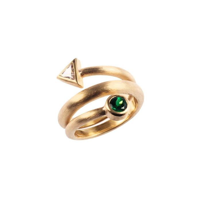 Yellow Gold Diamond Bindweed With Tsavorite Ring | Goldspindel