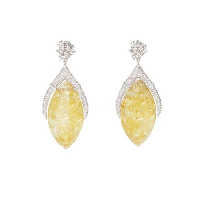 Carved Citrine & Diamond Drop Earrings