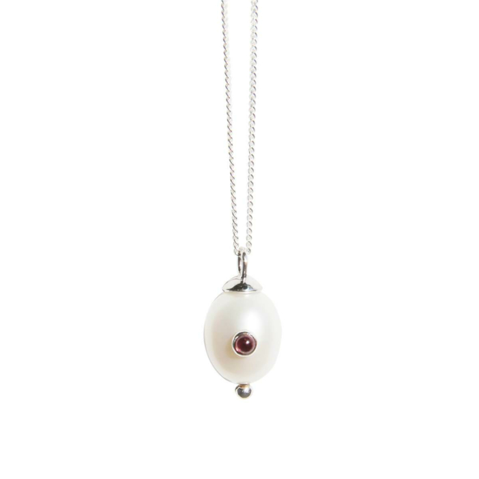 Silver Pearl & Pink Tourmaline Necklace