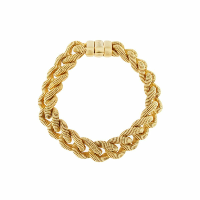 Yellow Gold Plated Silver Handcrafted Italian Curb Link Bracelet