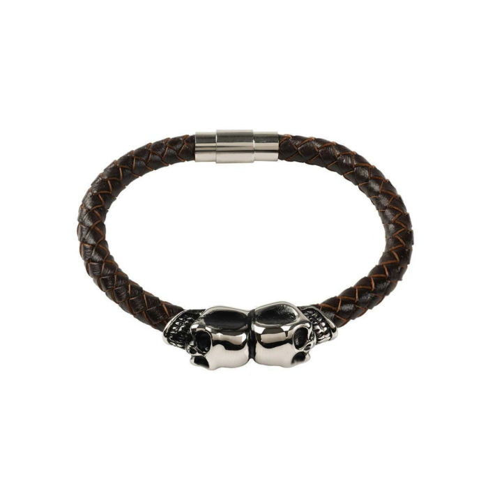 Brown Leather Skull Bracelet With Silver