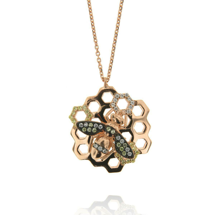 Rose Gold Plated Sterling Silver Honeycomb Bee CZ Necklace