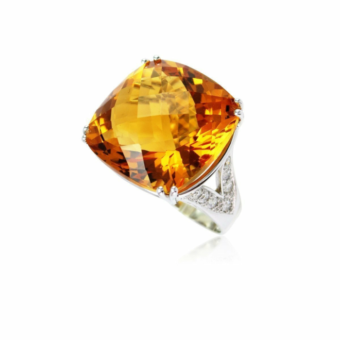 Fire and Ice Cushion Citrine Ring