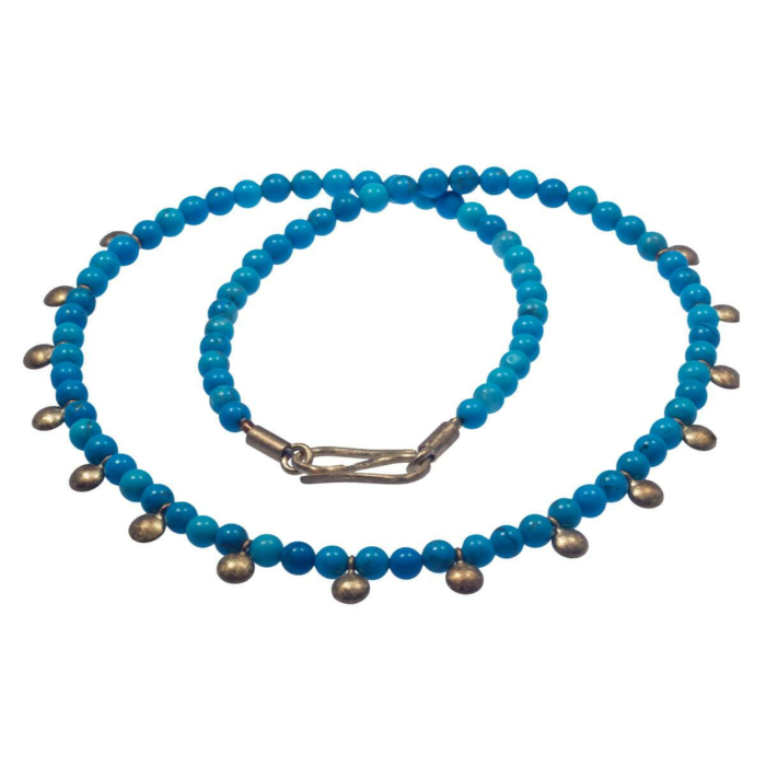 Yellow Gold Blue Dots Necklace