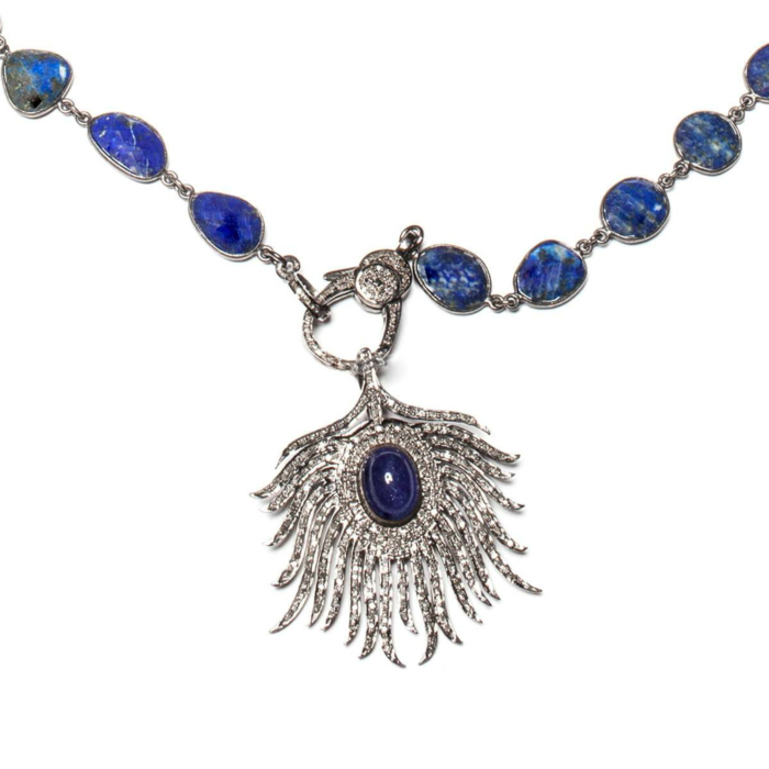 Rhodium Plated Pave Diamond Feather Necklace With Sapphire