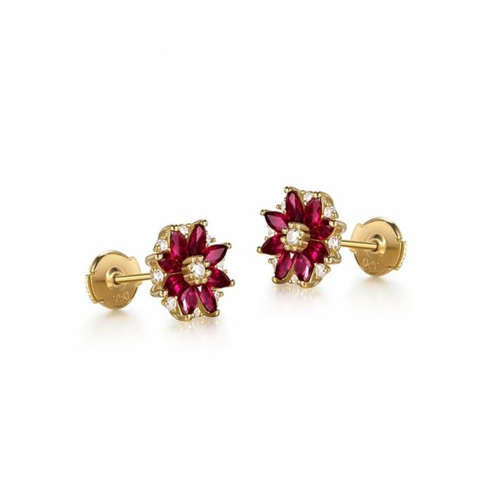 Marquise Cut Ruby Flower Studs