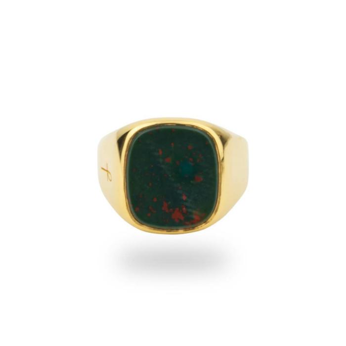 Jamestown Green Bloodstone Gold Ring