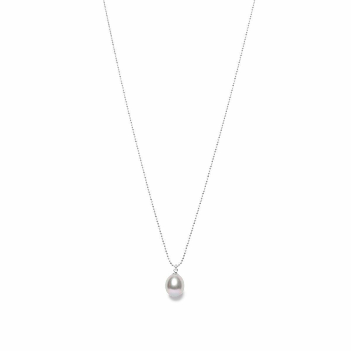 Sterling Silver Tear Drop Grey Pearl Pendant Necklace
