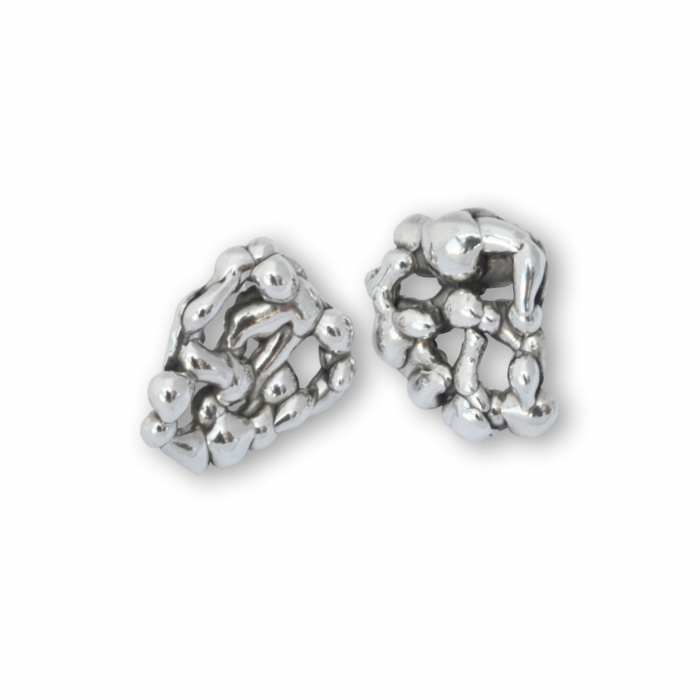 Sterling Silver Honeycomb Molten Earrings