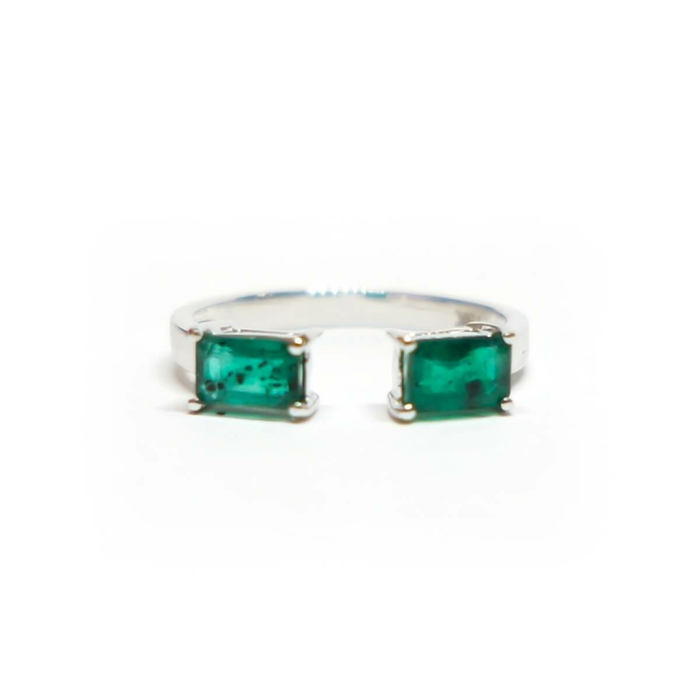 Two Emerald Double Bar Ring