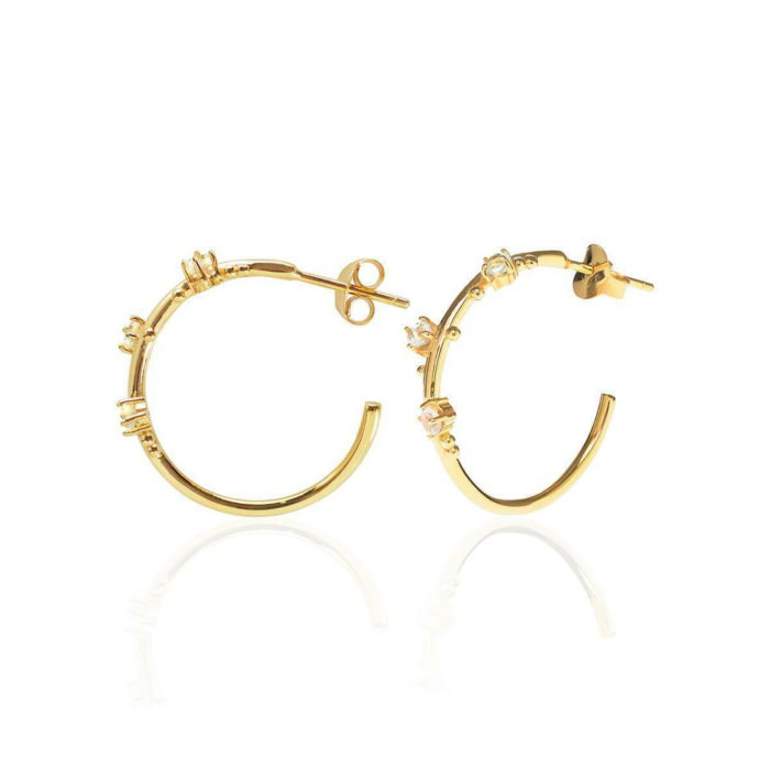 18kt Yellow Gold Vermeil 3 Wishes Moonstone Hoops