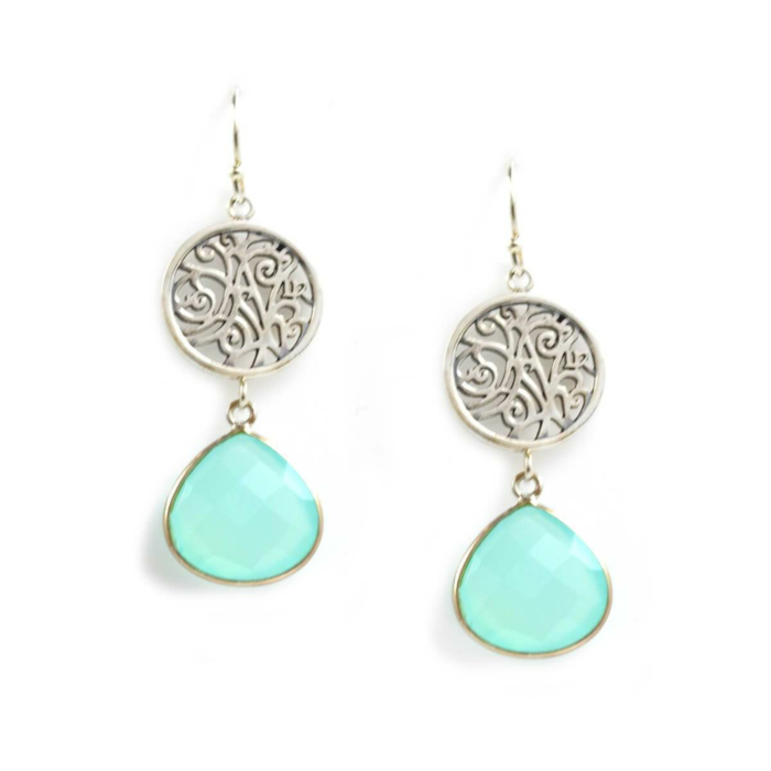 Earrings In Sterling Silver And Aqua Chalcedony