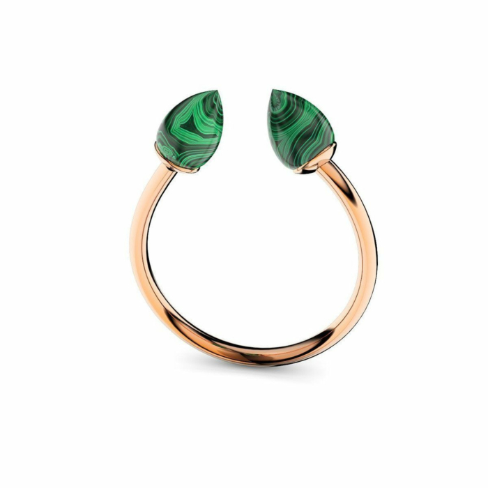 Rose Gold Plated Silver & Malachite Ring