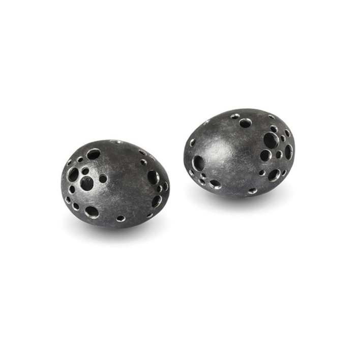 Matt Patinated Black Silver Studs