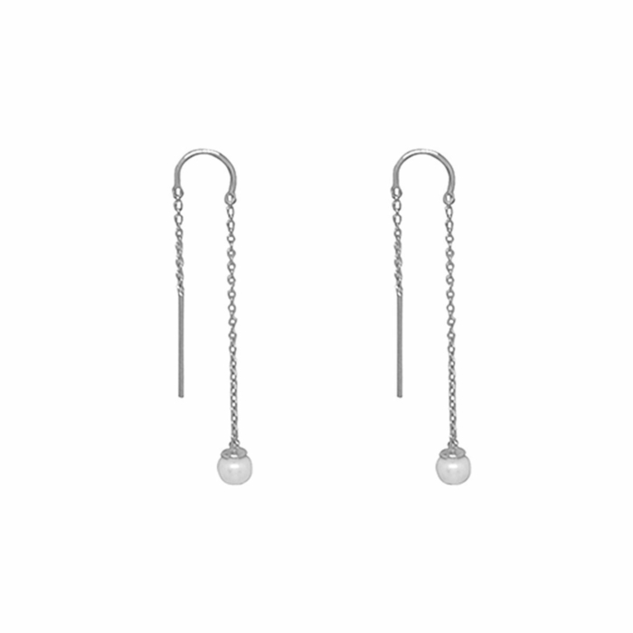 Sterling Silver & White Pearl Riviera Thread Earrings