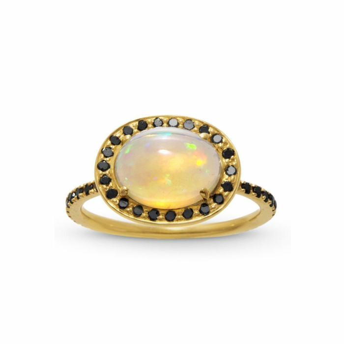 Delilah Opal and Black Diamond Ring