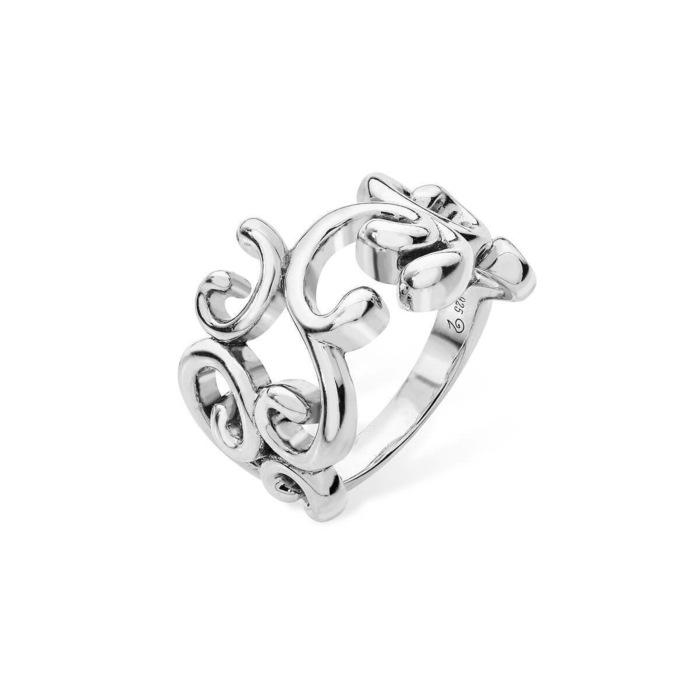 Rhodium Plated Elements Swirl Ring