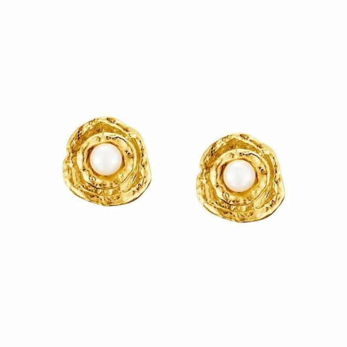 Seawater Cast Gold Vermeil Small Double Cup Handmade Pearl Stud Earrings