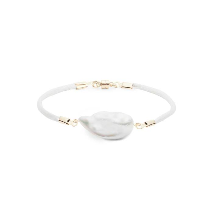 Gold Baroque Freshwater Pearl & Satin Bracelet
